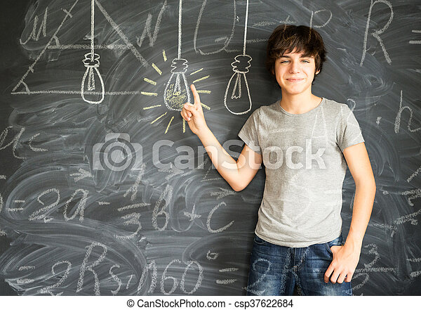 Teenager boy getting an idea - csp37622684