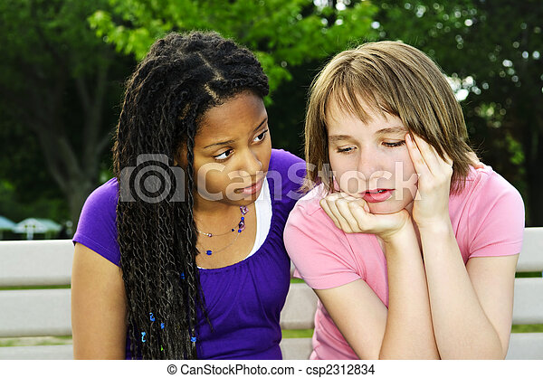 Teenager consoling her friend - csp2312834