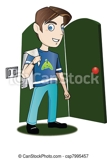 Teenager entering a room - csp7995457