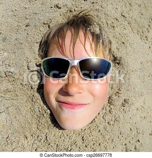Teenager Face in the Sand - csp26697778