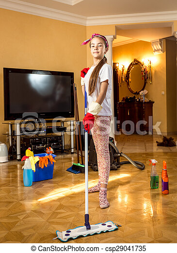 Teen dance with mop