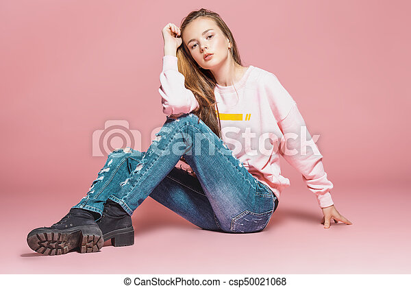 Young teen girl model jeans