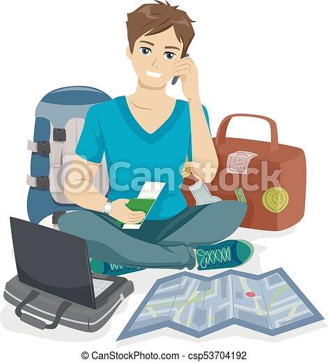 teenager, guy, rejsende, pakning - csp53704192