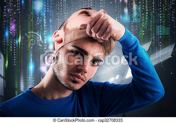 Teenager hacker - csp32708333