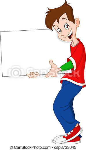 Teenager holding blank sign - csp3733045