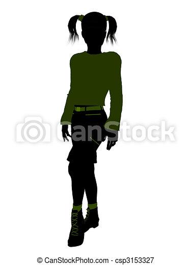 Teenager Illustration Silhouette - csp3153327