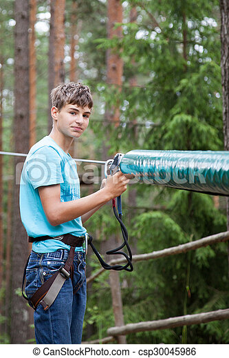 Teenager in the travel gear - csp30045986