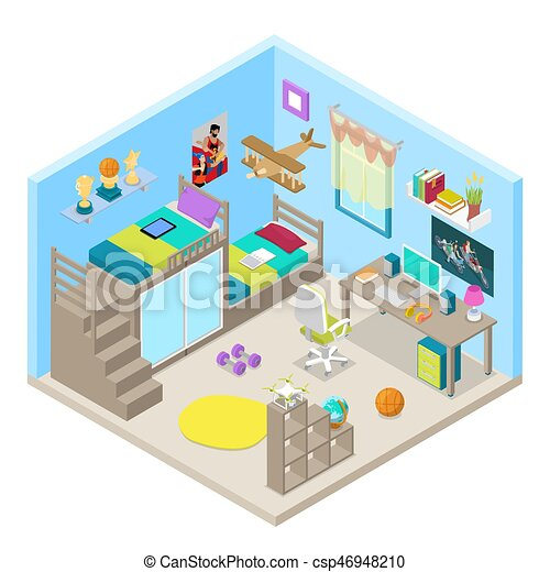 Teenager Room Interior Design with Furniture and Computer. Isometric vector flat 3d illustration - csp46948210