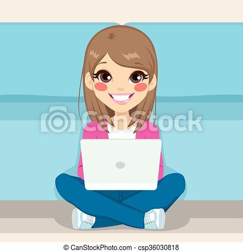 Teenager Sitting Floor With Laptop - csp36030818