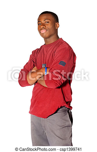 Teenager Standing With His Arms Crossed