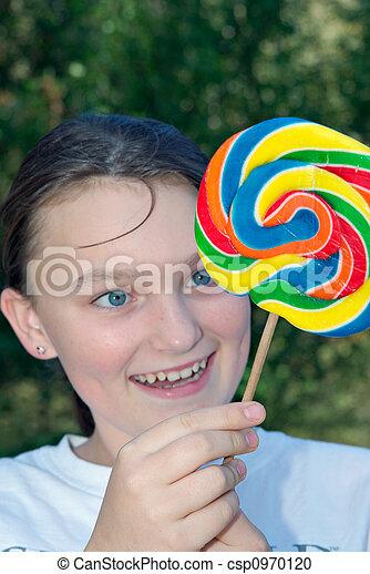 teenager with lollipop - csp0970120