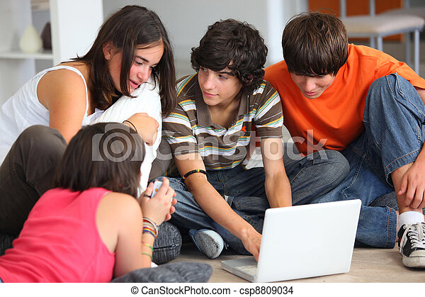 Teenagers looking at a computer screen - csp8809034