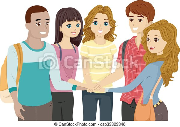 Teens Group Hands In - csp33323348