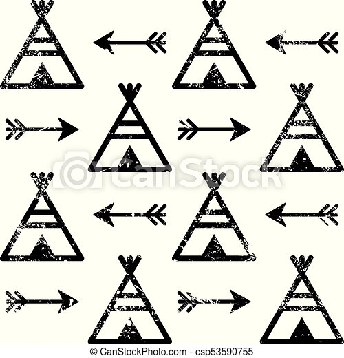 Teepee And Arrows Seamless Vector Pattern Aztec Style Indian