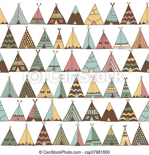Teepee Pattern. Wigwam Native American Summer Tent Illustration  sc 1 st  Can Stock Photo & Teepee pattern. wigwam native american summer tent... vector ...