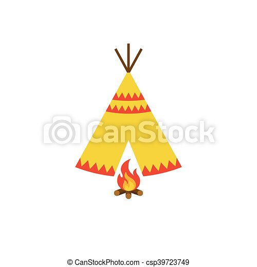 Teepee Tent Of Native American And Bonfire With Firewood Icon