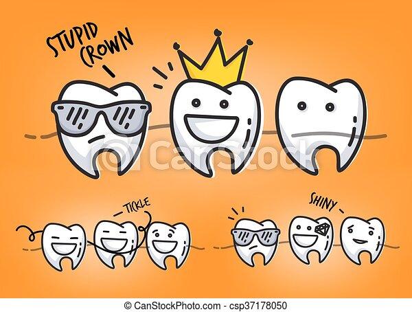 teeth orange cartoons set of small funny teeth characters scenes