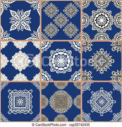 tegole, ornamento, collezione, pavimento - csp35742435