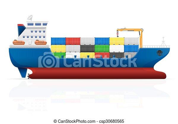 teherhajó, vektor, ábra, tengeri - csp30680565