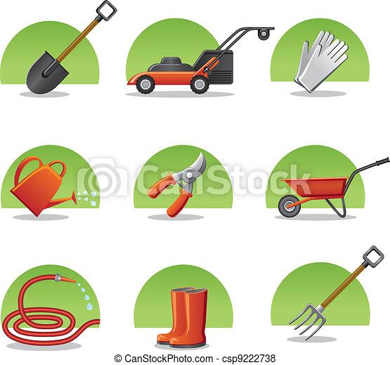 teia, ferramentas, jardim, ícones - csp9222738