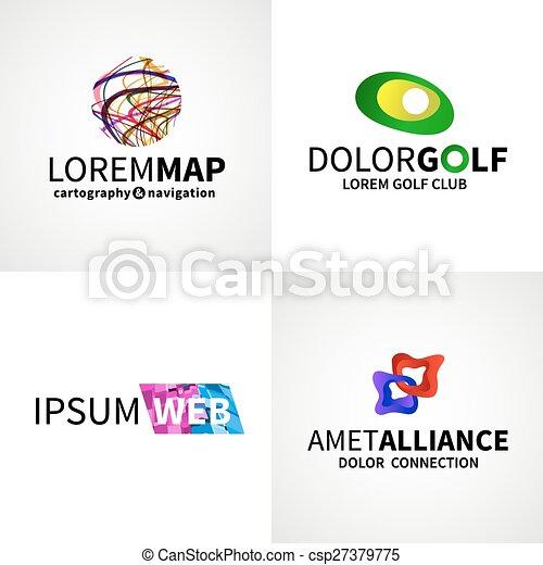 teia, jogo, golfe, coloridos, mapa, abstratos, modernos, vetorial, desenho, logotipo, aliança, emblema, elementos - csp27379775