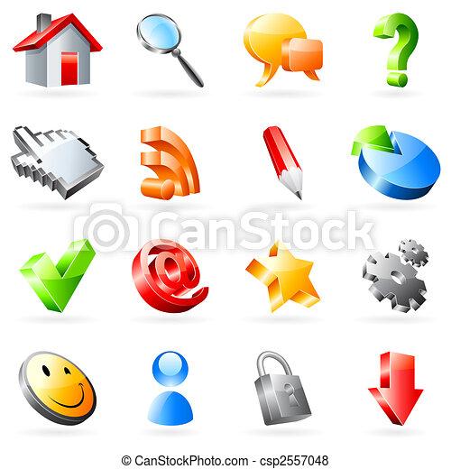 teia, vetorial, icons. - csp2557048