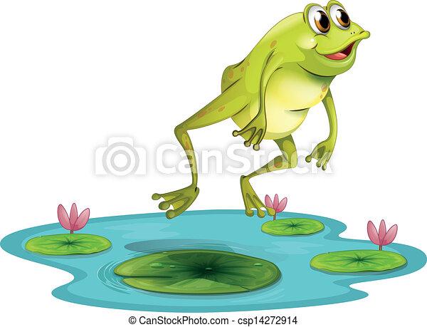 Ein springender Frosch am Teich - csp14272914