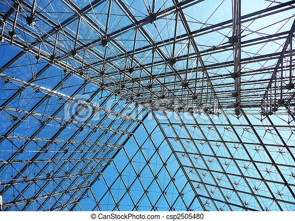 Tejado louvre metal vidrio estructura du musee