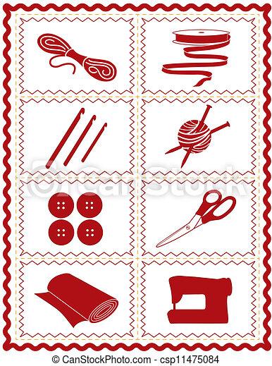Cosiendo, tejiendo, crochet, iconos de arte - csp11475084