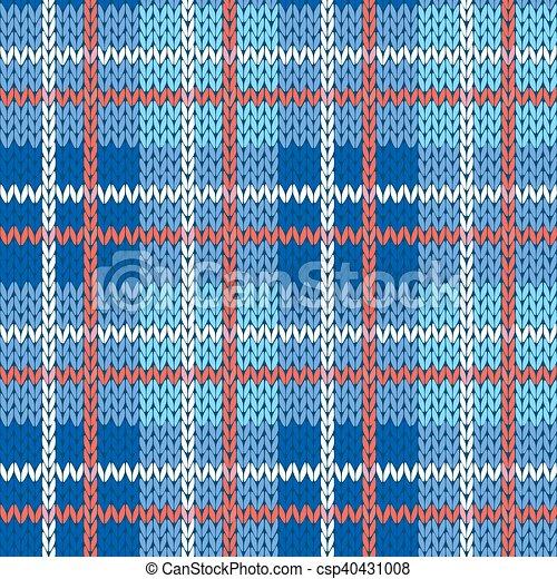 Tejido de punto, azul, patrón, seamless, colores, rojo blanco. Celta ...