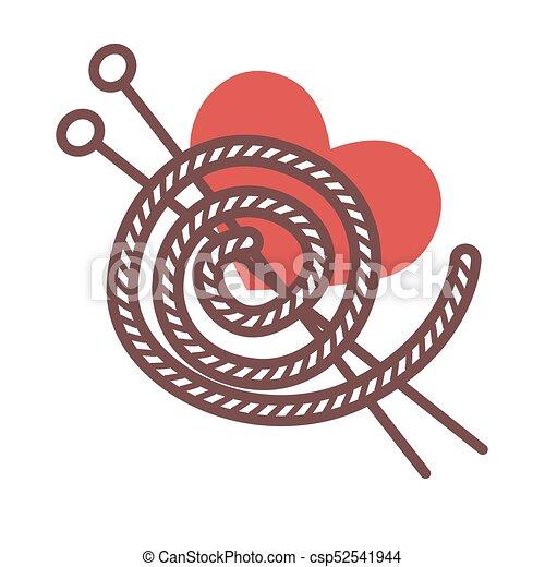 Hilo acrílico y agujas de metal largas para tejer - csp52541944
