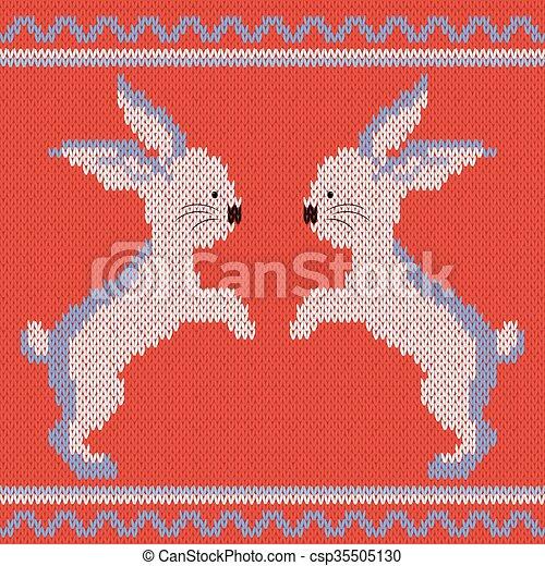 Tejido, patrón, conejos. Azul, ornamental, conejos, patrón, dos ...