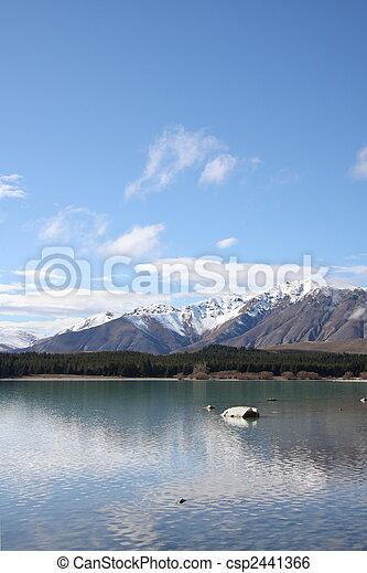 tekapo, nieuw-zeeland, meer - csp2441366