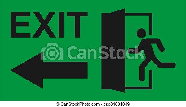 teken., man, pictogram, ontsnapping, afslaf, helpen, symbool., deur, vector, rennende , evacuatie, veiligheid - csp84631049