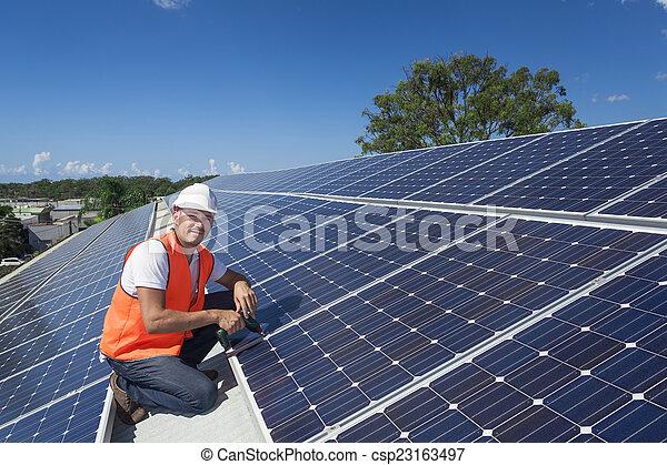 tekniker, paneler, sol - csp23163497