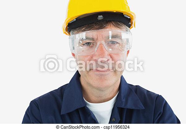 tekniker, skyddande, hardhard, glasögon, tröttsam - csp11956324