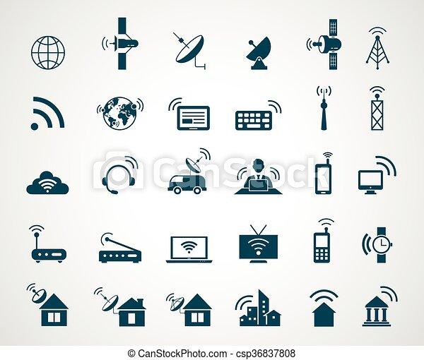 teknologi, antenn, ikonen, radio - csp36837808