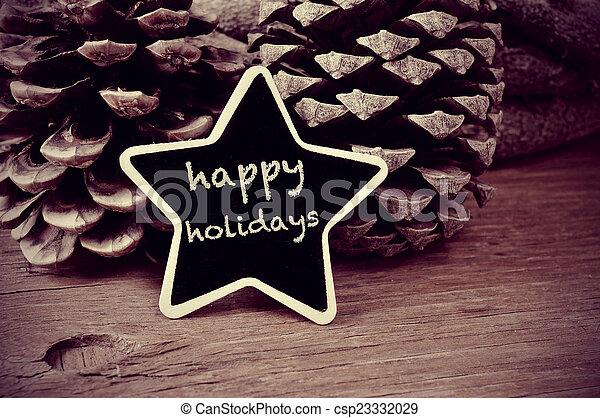 tekst, bord, wh, black , stervormig, feestdagen, vrolijke  - csp23332029