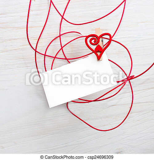 Tekst Love Heartsmbol Leeg Kaart Clothespins Background