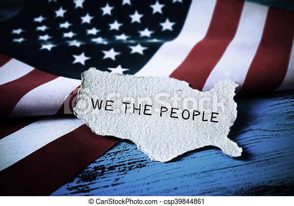 tekst, wij, vlag, usa, mensen - csp39844861