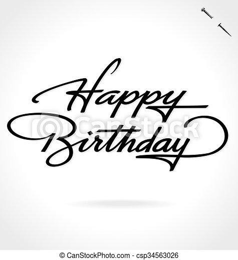 tekstning, fødselsdag, glade, hånd - csp34563026