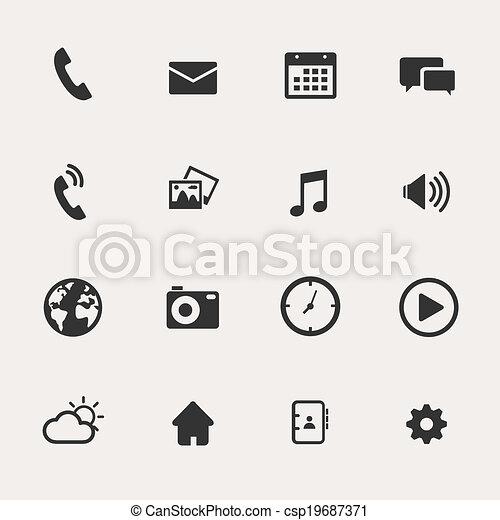 teléfono, conjunto, icono - csp19687371
