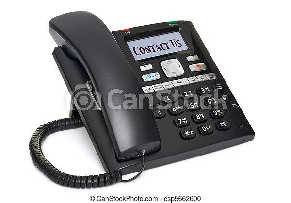 teléfono de la oficina, nosotros, aislado, contacto, blanco - csp5662600