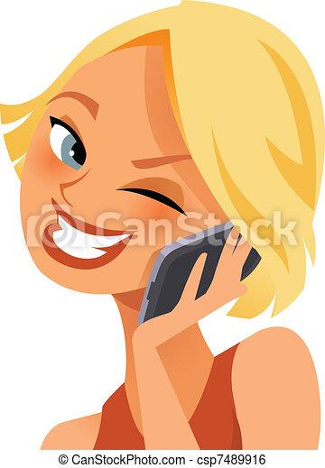 Feliz por teléfono - csp7489916