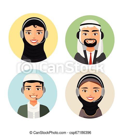 Llama al operador central con audífonos árabes, icono y servicios al cliente, vector de apoyo al cliente, hombre y mujer. - csp67186396