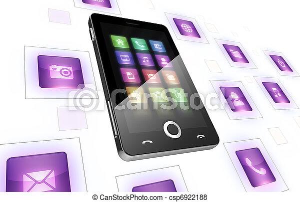 Teléfono móvil con iconos en blanco - csp6922188