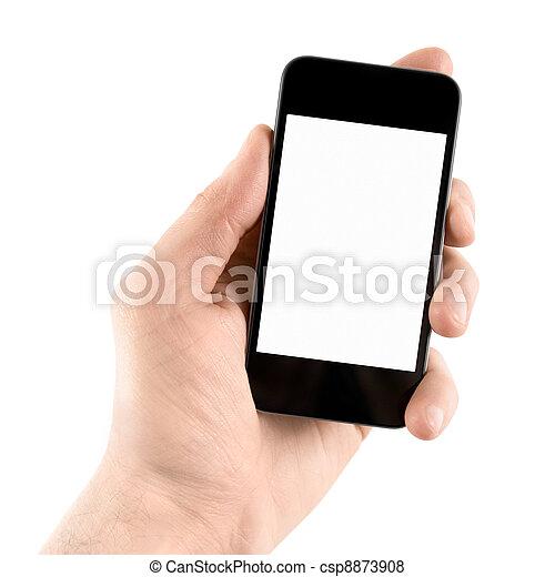 teléfono móvil, elegante, llevar a cabo la mano - csp8873908