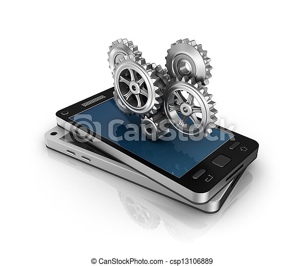 Teléfono móvil y engranajes - csp13106889