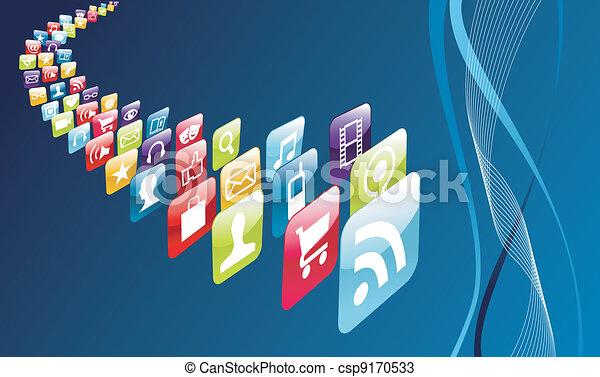 El teléfono móvil global muestra iconos - csp9170533