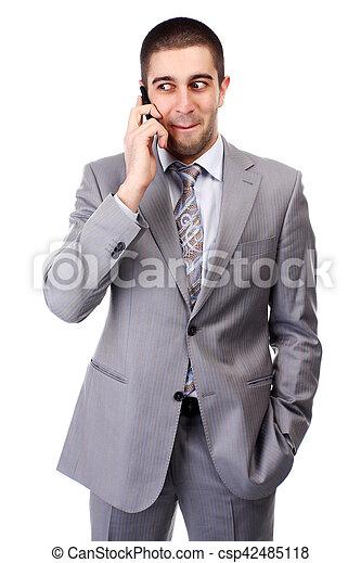 Hombre con teléfono móvil - csp42485118